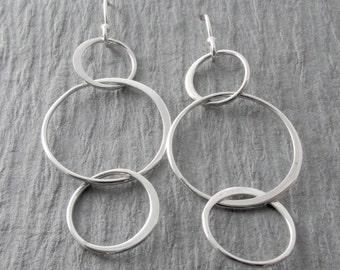 Simple Circle Earrings Modern Earrings Silver Dangle Earrings Everyday Earrings Mother's Day Gift Holiday Gift