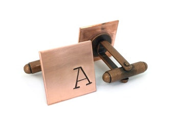 Custom Copper Cuff Links, gift ideas for him, hand stamped, gift under 25, wedding gift for groom
