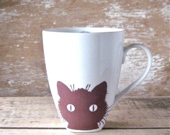 Kitty Cat and Yarn Mug, Kitten Kitty, Large 16 oz Cup, Ready to Ship
