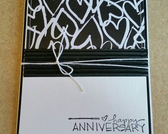 Sewn Handmade Anniversary Card. Congratulations.