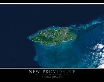 New Providence Island Bahamas Satellite Map