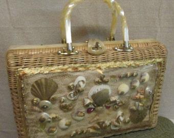 Vintage Princess Charming Atlas Plastic Coated Basket Weave Wicker Lucite Twist Handles Trim Shell Front Handbag Purse