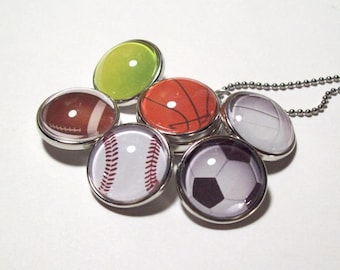 SALE 6 Sports Ball Snap Button Necklace, snap charm set, noosa, snap jewelry, ginger, football, baseball, basketball, soccer stainless steel
