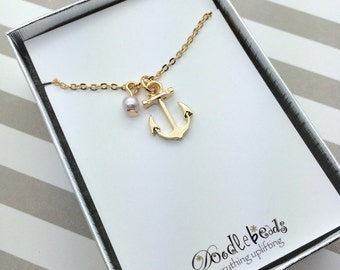 Silver or Gold Anchor Necklace, nautical Necklace, beach jewelry, anchor of hope, you are my anchor, best friend, ocean jewelry gifts