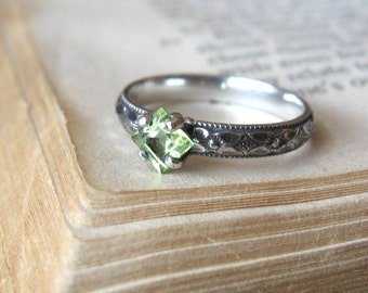 Square Peridot Gemstone Ring Solitaire Promise Ring Stacking Ring Sterling Silver Princess Cut  Alternative Engagement Ring