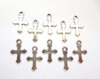 10 Antique Silver Cross Charms/Pendants - 21-25-3