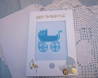 embroidered birthstone Pearl 231 hand made greeting card