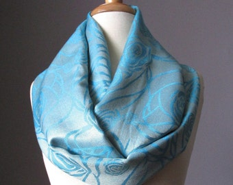 Icy Blue scarf, light turquoise scarf, infinity scarf, floral scarf, pashmina, gift for her, gift under 30
