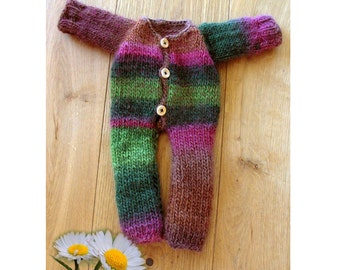 Large doll onesie, body, overall, Waldorf doll clothes, baby doll clothes, handmade natural materials, 18 inch american doll clothes