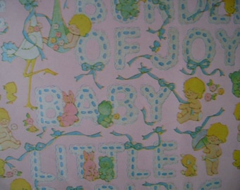 Vintage 1960s Gift Wrap for BABY- 1 Sheet Wrapping Paper-Bundle of Joy