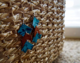 Leather Suede and Blue Earrings