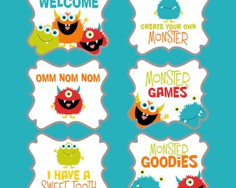 Monster Party Signs - DIY printables