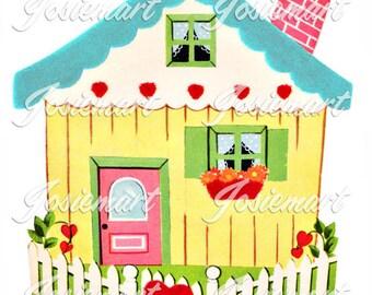 Cottage House Vintage Digital Download Vintage Image Heart Collage Large JPG