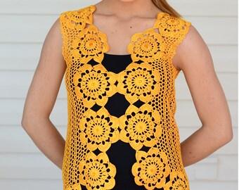 Crochet Lace Top, Crochet Vest, Summer Top,  Beach Wear, Lace Tank, Mustard Yellow Top, Summer Fashion