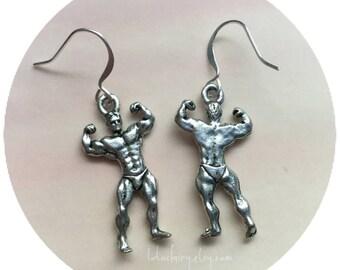 Man Earrings, Body Builder earrings, Muscle, Fitness, sold per pair