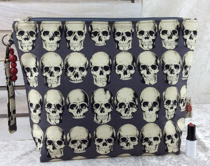 Handmade Giant Zipper Case Zip Pouch fabric Bag Purse Alexander Henry Gothic Rad Skulls