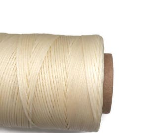 Ivory Macrame cord, Flat Waxed Polyester Cord, Ivory, 1x0.3mm 10m - 11yards S 40 218