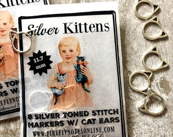 Small Cat stitch markers, small silver or brass toned, knitting gift 11.7 mm