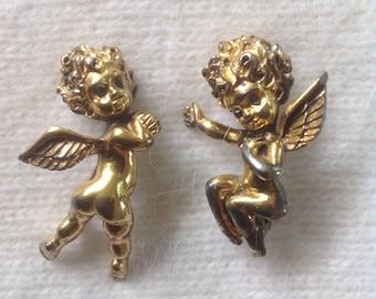Vintage Pair of Signed Tortolani Cupids / Cherubs / Pixies with Rhinestone eyes