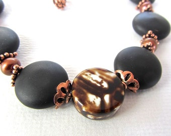 Freshwater chocolate pearls - matte black onyx - polished agate - NECKLACE - matching earrings bracelet available