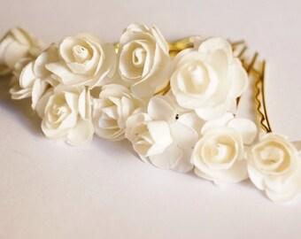 Bridal Hair Accessories, Ivory  Rose, Off White  flower Hair Bobby Pins- set 10