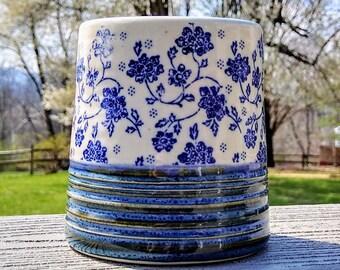 Blue Flower Handleless Mug