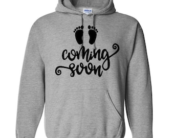 Coming Soon Baby Foot Print Pregnant Expecting Unisex Pullover Hoodie Sweatshirt Custom Gift for Her Mothers Day Jenuine Crafts
