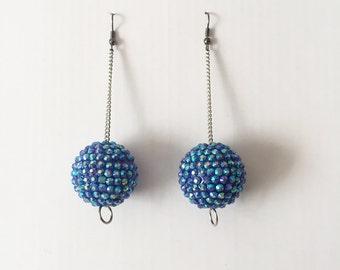 Handmade 70s 90s Club Kid Space Age Mod Blue Rhinestone Disco Ball drop Earrings