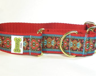 Martingale Greyhound Collar Aqua and Red on Red 1.5""