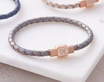 Leather And Personalised Rose Gold Clasp Bracelet (HBB48 / R)
