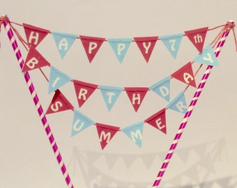 Personalised Happy Birthday, Age & Name Cake topper bunting