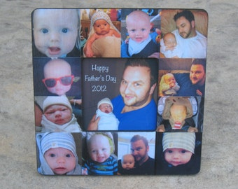 Personalized Father's Day Picture Frame, Unique Baby's First Year Photo Collage Frame, Dad Birthday Frame Gift, Custom Mother's Day Gift