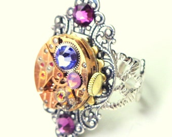SALE, Victorian, Steampunk Ring,Two Tone,Multi Color,Swarovski Crystal,Filigree Ring,Cosplay Ring, Edwardian Fantasy,Watch Movement,OOAK