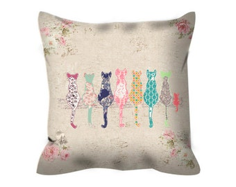 cat throw pillow, nursery pillow, cat decorative pillow, throw pillows for couch, cat cushion, baby pillow, cat pillow, cat nursery bedding