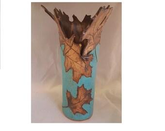 Carved leaves free-shape vase blue and bronze hand made ceramic