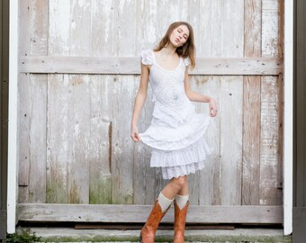 White Wedding Dress/Alternative Wedding Dress/Short Wedding Dress/Eco Wedding Dress/One of a Kind dress/Handmade Wedding Dress/