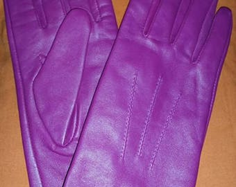 Magenta Leather Gloves