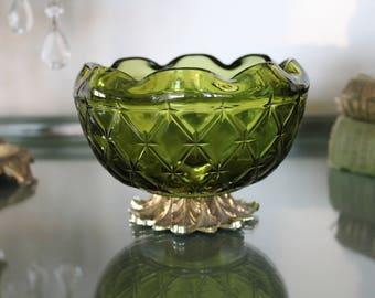 Vintage Green Glass Candy Dish, Hollywood Regency Brass and Glass Dish, Olive Green Glass Bowl, Pineapple Candy Dish, Retro Candy Dish