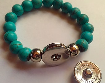 Turquoise Beaded Snappy Chicks Stretch Bracelet.