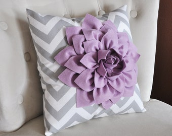 Lilac Dahlia on Gray and White Zigzag Pillow -Decorative Chevron Pillow- 18x18