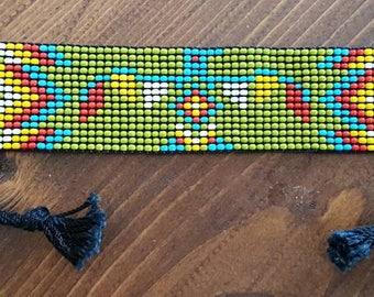 Beaded bracelet beaded men, women, adjustable, traditional native American. Animal totem, Buffalo medicine. Turtle. Thunderbird (Thunderbird)