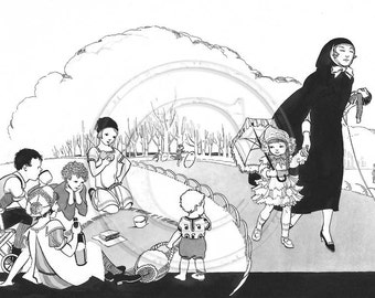 Park Life, In The Park,  Art Deco Illustration, Print, Black and White, 1920s