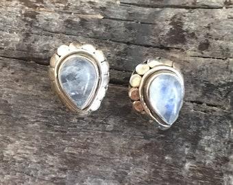 Vintage studs, Moonstone Stud-Moonstone Earring,Handmade stud,Sterling Silver stud,Moonstone ,Studs Earring,
