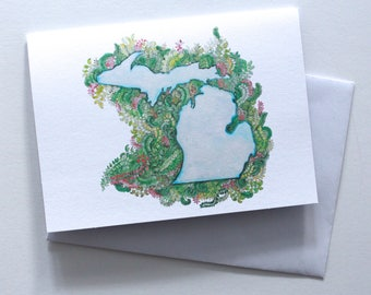 Handmade Michigan greeting card. Blank card. Hand drawn card. Pure Michigan. Michigan love