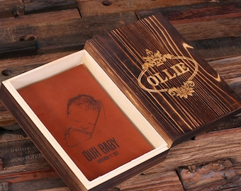 Personalized Monogrammed Engraved Notebook Leather Travel Diary Sketchbook with Wood Box (025310)