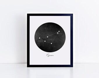 Framed • Capricorn Vintage Black Constellation Art Print • Sizes 8x10 - 24x36