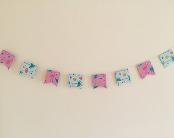 Flamingo printed card bunting