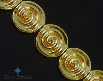 8 BEADS - Nepalese Artisan Handmade Gold Plated Coin Bead 12mm NBA198