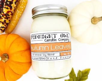Autumn Leaves Scented Mason Jar Candle 8oz or 16oz, fall scented candles, most popular fall candles -Midnight Owl Candle Co.