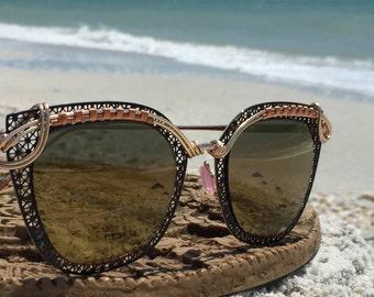 New Style / Bronze Reflective Sunglasses / Boho Bohemian Artisan Wire Wrap Glasses / Urban Trend Runway Chic Sun Glasses Eyewear Glasses